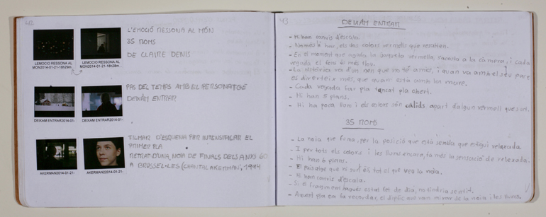 Notebook of Cinema en curs from 11-12 year-old students from Escola de Bordils (Barcelona). The